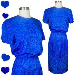 Vintage 80s Blue Cocktail Party Prom Dress XS S